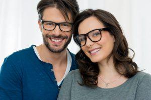 Happy couple with specs