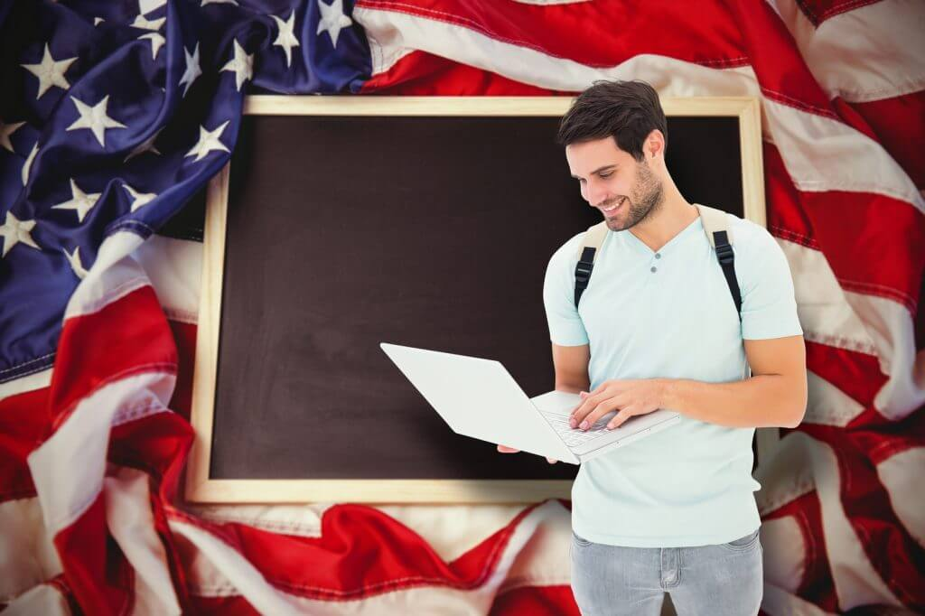 Composite image of student using laptop