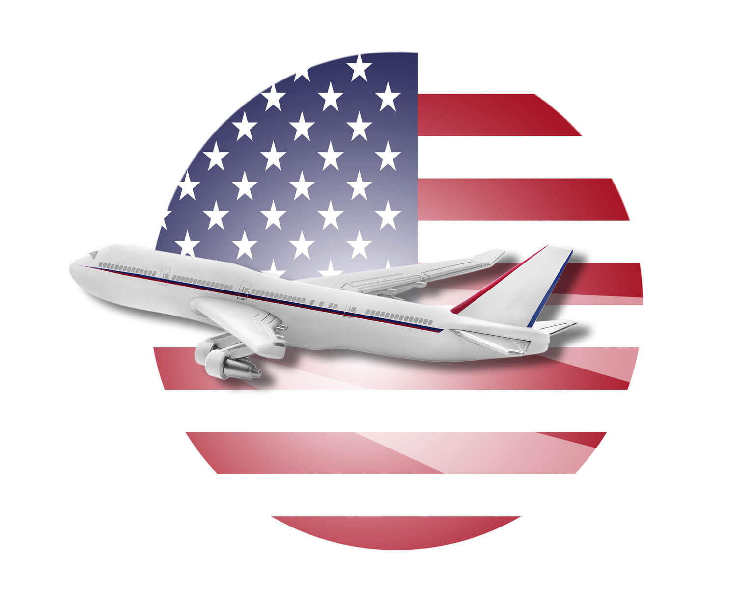Plane and United States flag.