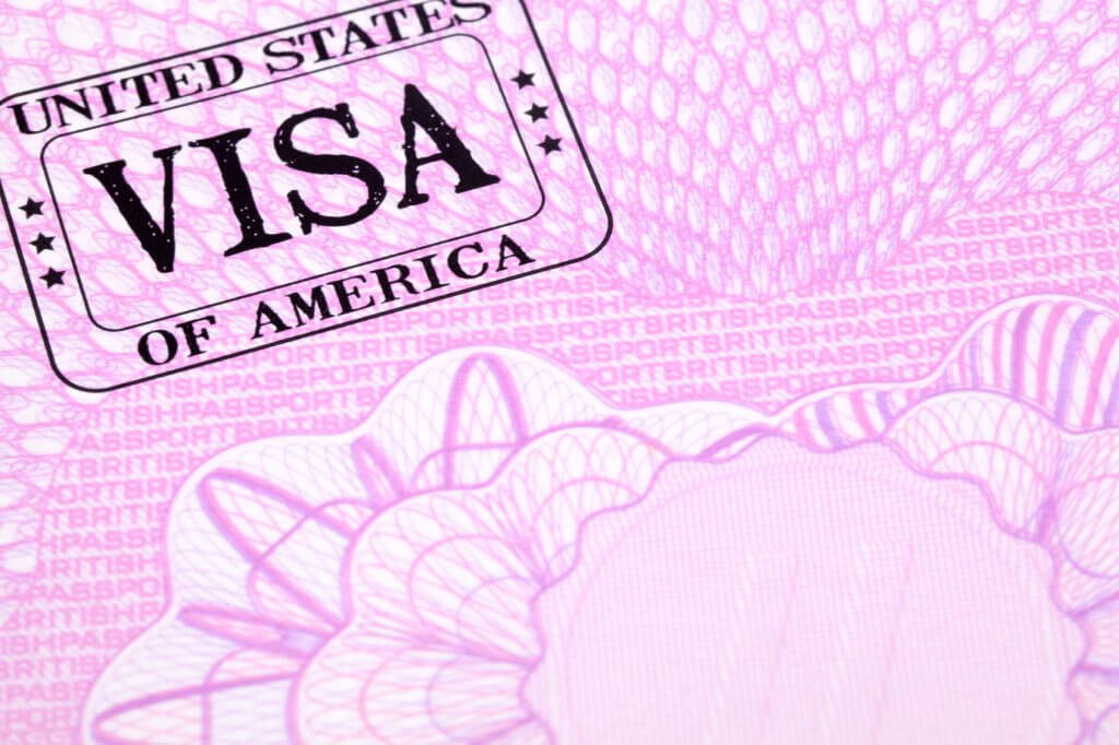 USA visa stamp document passport page, copy space