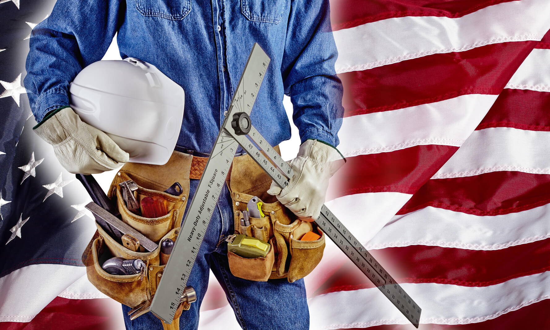the best cities to a job in construction move to america contractor carpenter man on usa flag building america